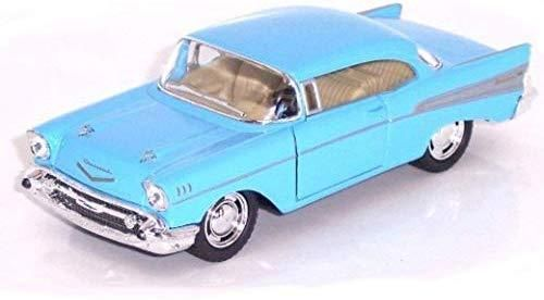 Kinsmart Chevy Bel Air 1957 Powder Blue 2 Door Coupe 1/40 O Scale Diecast Car