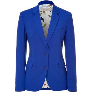 PAUL SMITH Electric Blue Wool Blend Blazer  Stylish blazer in fine, electric blue wool blend. Supremely comfortable, thanks to a touch of stretch. Fitted, slightly longer cut creates a feminine, elegant silhouette. Small collar and slim lapels, two-button closure. The details we love: two flattering, fabric darts at back, multicolor, graphic print lining.