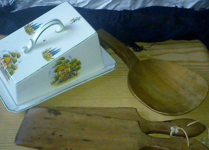 1940s Cheese dish, Victorian butter pat and paddle.