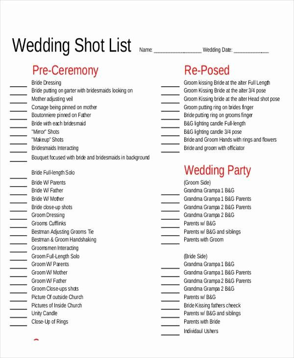Wedding Photo Checklist Word Document Beautiful Shot List Sample 9 Examples In Word Pdf Wedding Shot List Wedding Photo Checklist Shot List