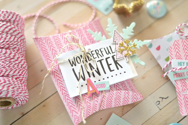 Christmas pillow box wrapping with Crate Paper Snow & Cocoa | Flora Monika Farkas