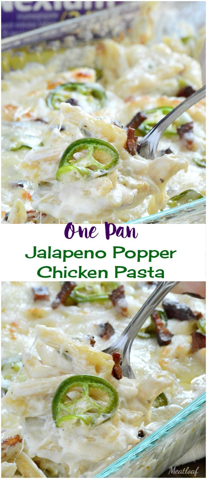 One Pan Jalapeno Popper Chicken Pasta. This spicy, creamy, easy game day dinner is loaded with cheese, bacon and jalapeno peppers. AD #Tailgreatness @Walmart
