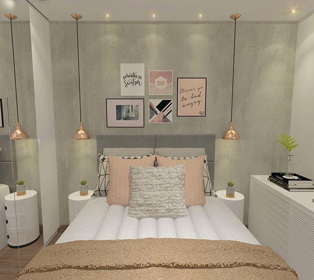 Boa noite! Um quarto com toques de rosa a pedido do cliente que gostaria de um …   – Arquitetura