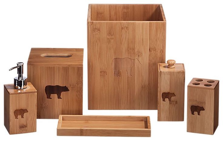 Coopersburg Products Bear Bamboo Bathroom Accessories 6-Piece Set | Bass Pro Shops: The Best Hunting, Fishing, Camping & Outdoor Gear