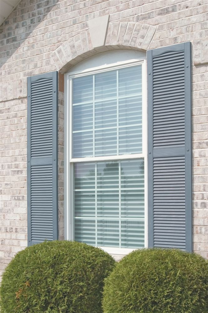 Cathedral Top Open Louver Master Vinyl Exterior Shutters with center mullion