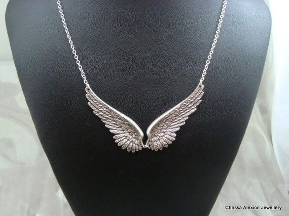 Angel Wing Necklace Antique Silver Angel Wing by LoveChrissa, $21.50