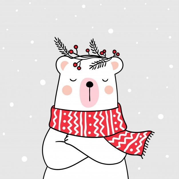 Draw White Bear With Beauty Sweater In Snow For Winter Season Christmas Drawing Christmas Doodles Cute Christmas Wallpaper