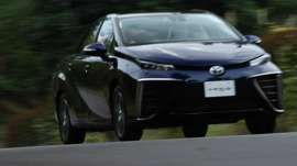 Toyota's Mirai car - First commercial produced hydrogen powered car. Japanese car manufacturers have set their sights on being the lead exporter of hydrogen-powered cars. Toyota announced earlier this year that it was willing to share its thousands of patents with other manufacturers and has recently delivered the first of its new Mirai fuel cell cars to owners in Japan, the USA, Denmark, Germany and the UK.