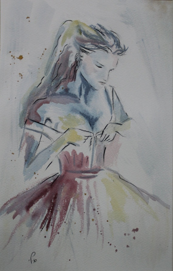 Blue Dress   Watercolour Painting by gilispencer on Etsy, $35.00