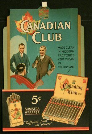 http://www.chisholm-poster.com/large/CL53599.jpg Original Title: Canadian Club Cigar Box Label English Title: Canadian Club Cigar Box Label Year of Poster: 1930s Category: Product/Tobacco and Cigarettes Country of Poster: American Size: 16 x 11 inches = 41 x 28 cm Condition: Very Good Price: $130