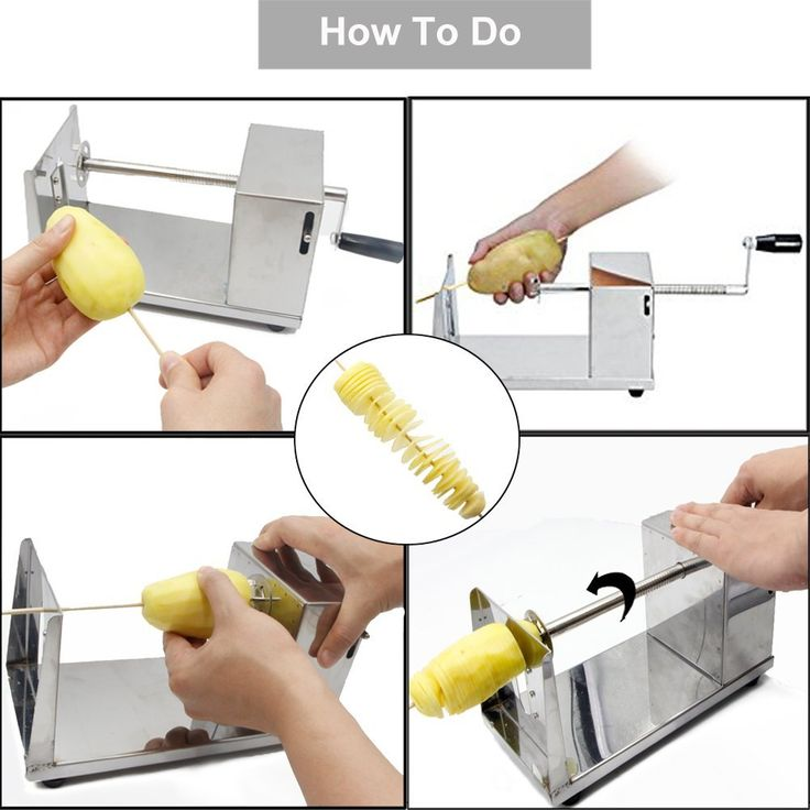 RioRand® Manual Stainless Steel Twisted Potato Slicer Spiral Vegetable Cutter French Fry: Amazon.ca: Electronics