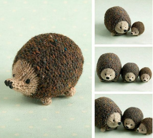 Knitting Pattern for Little Oddment Hedgehog - This quick and simple little pattern is a great stashbuster for scrap yarn. These hedgehogs make great toys or pincushions and are knit flat and seamed.