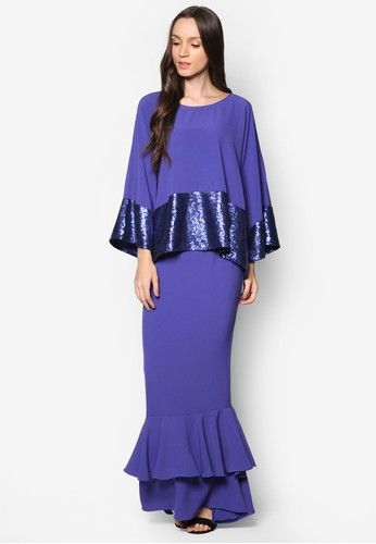 Mini Kurung Kedah Sequin from Zuco Fashion in blue_1