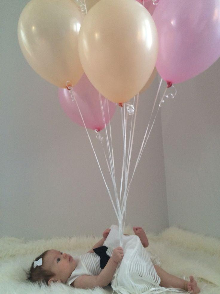 Dåp Baby Girl Jente Noelle Rosa Pink Ballonger