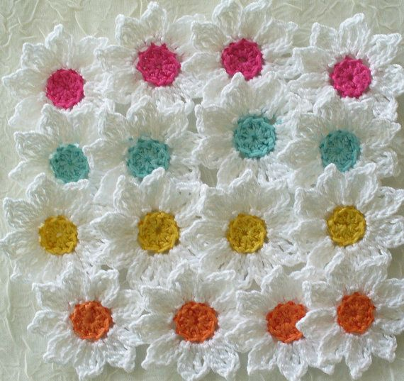 Fresh as a Daisy Crochet Flowers Appliques by IreneStitches