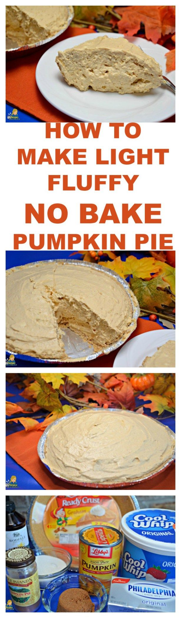 What is in this No Bake pumpkin pie? Can pumpkin, pumpkin pie spice, brown sugar, sugar, and vanilla, cream cheese, & Cool Whip MAKES THE BEST PUMPKIN PIE!