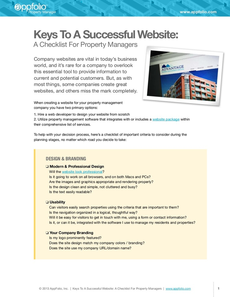 15 best property management ideas images on pinterest marketing a checklist for your property management website ebook fandeluxe Gallery