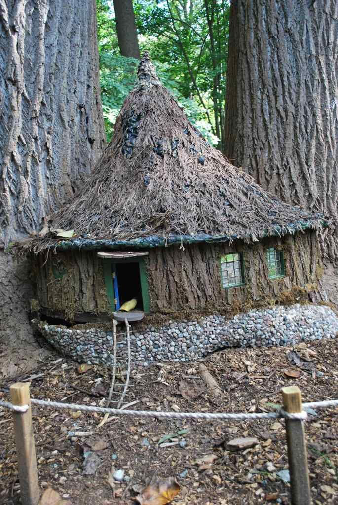 Gnome house (Often distinguished from fairy houses because of their simplicity and utilitarian features.)
