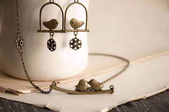 bird necklance and earing set
