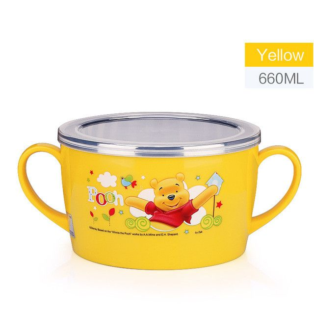 Disney Baby Bowl Cartoon Kids Dinner Set Stainless Steel Insulation Dish Sensing Spoon Child Tableware Covered Food Container