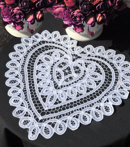 Sheer romance for night stands and vanities is so ethereal and feminine with this Battenberg Lace heart doily. Add a special touch to your wedding banquet.  Our Battenberg Design is perfect for a center piece decoration.  100% cotton. Handmade.