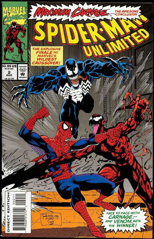 """Chuck's Stuff has this Vol. 1 1993 series """"Spider-Man Unlimited"""" #2 Marvel comic book for sale for $3.95. Near Mint. Part 14 (the end) of Maximum Carnage, with lots of Venom and Carnage! #comicbooks"""