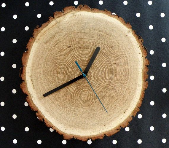 wooden oak wall clock from untreated wood by tikutikudesign