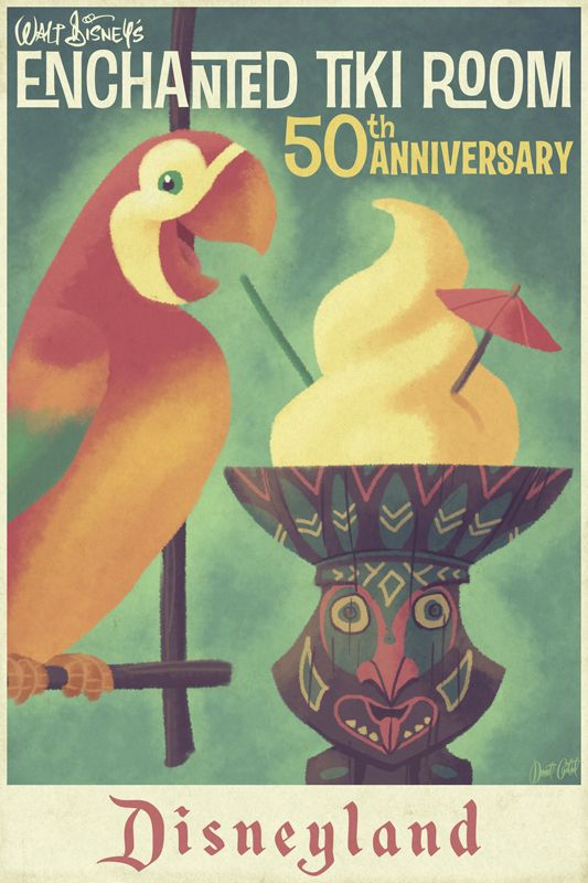 Tiki Room 50th anniversary poster.  Maybe use a vintage Disney Attraction theme? #DisneySide