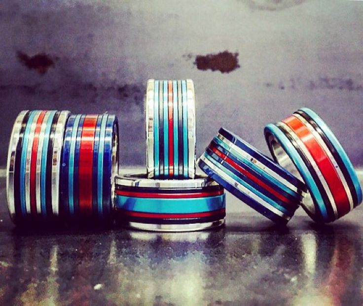 Martini Racing inspired  HIGH ROLLER rings  designed by mark gold