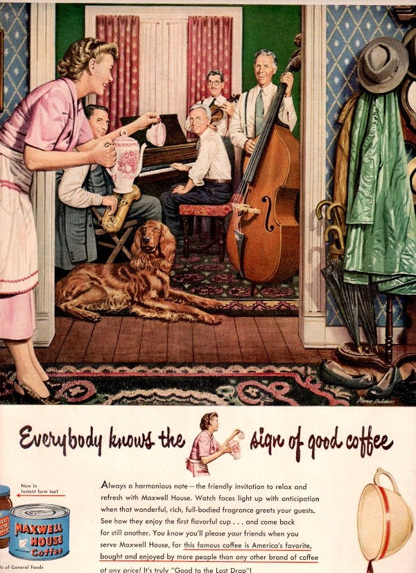 vintage music piano coffee 1947 advertisement