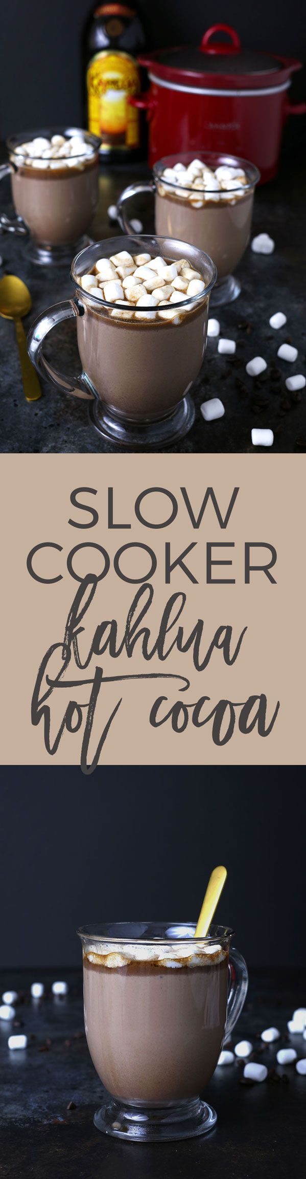 Slow cooker Kahlua hot cocoa warms you up in more ways than one! Add some marshmallows to this hot chocolate and you're all set for chilly winter nights or holiday parties! This is going to become your favorite winter cocktail / dessert combination!   honeyandbirch.com