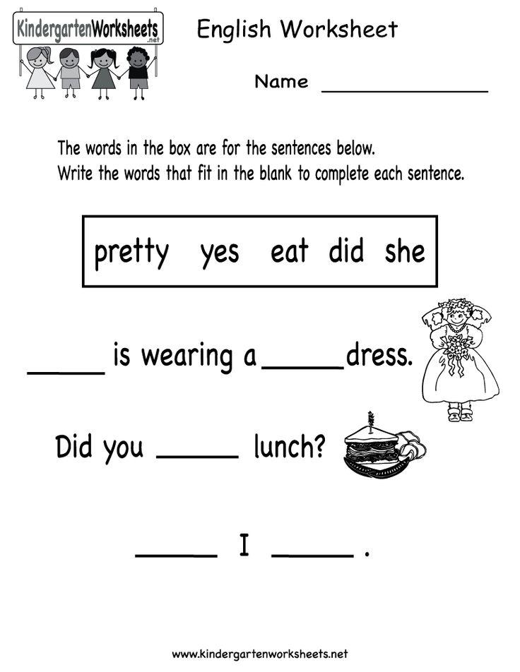 The 25+ best Kindergarten english worksheets ideas on Pinterest ...