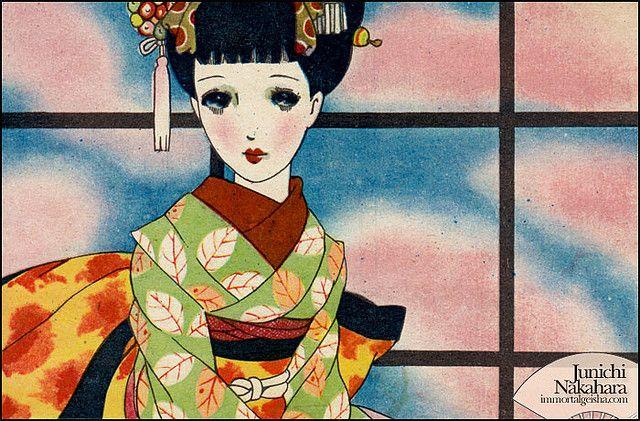 ❤٩(๑•◡-๑)۶❤                                                         中原淳一 Junichi Nakahara  Postcard