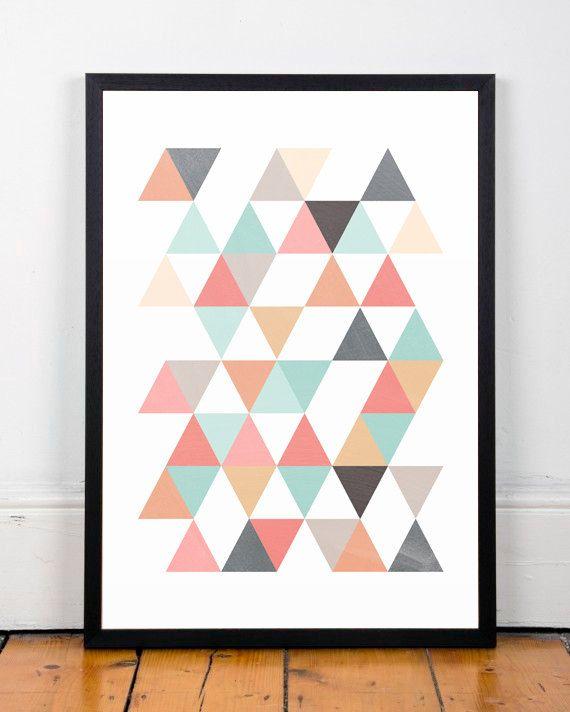 Triangles print, Scandinavian print, Abstract art, Office decor, Mid century modern, Modern art, Minimalist print, Colorful print, Cute art