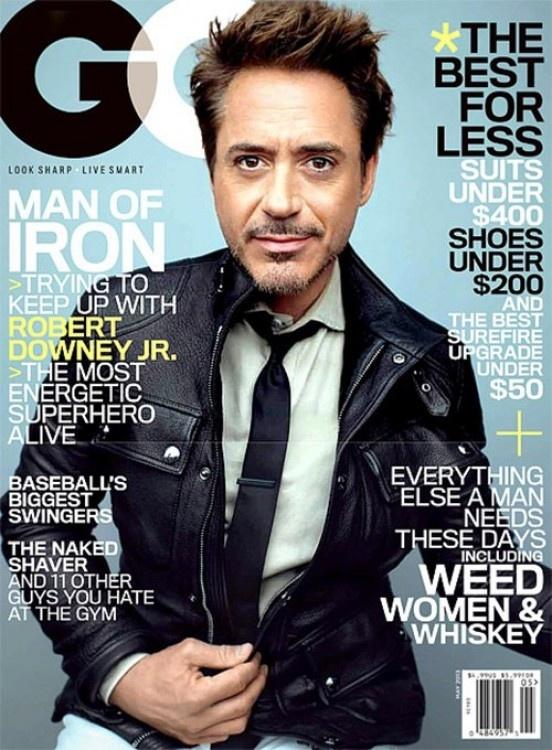 Preparándose para el gran estreno de Iron Man 3, Robert Downey Jr. se dio un tiempo para posar para la revista GQ, para el mes de mayo.
