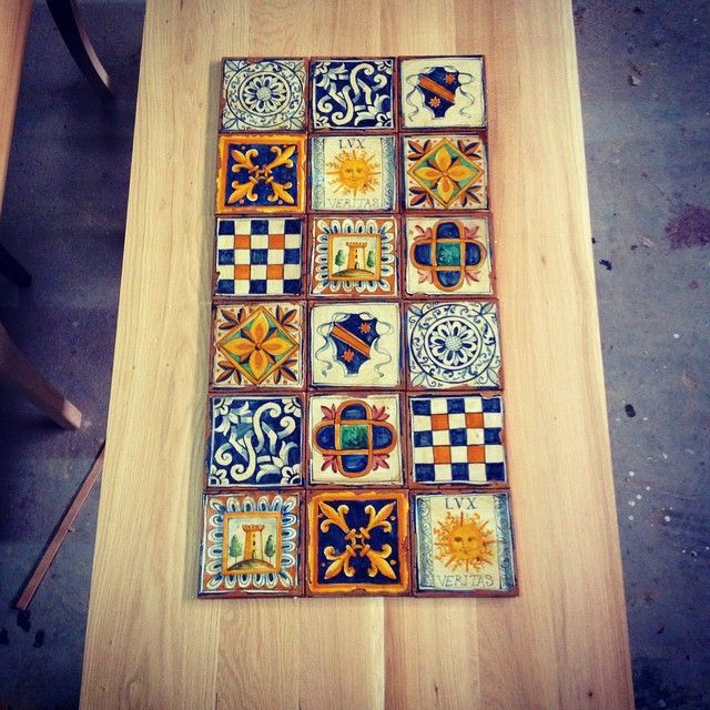 Customized solid wood dining table FOREST with handmade ceramic tiles_in production #thedesigngroup #furniture #customized #handmade #production #tiles #design #decoration #interiors #instadesign #interiordesign #madeingreece #table #home #style #living #kaloterakis
