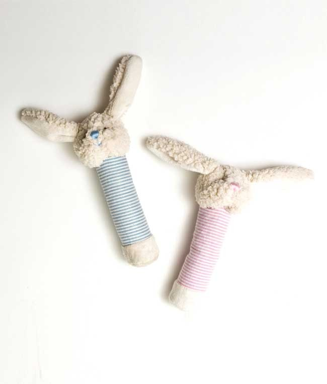 While hand squeaker toys have limited squeaks, these gorgeous baby rattles will never run out of rattle! And unlike squeakers, there's no toddler strength needed to produce the desired sound: babies will enjoy rattling these little softies as gently as they please.