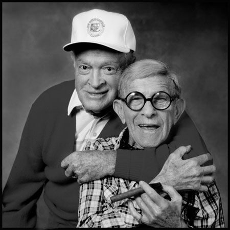 George Burns & Bob Hope. Both lived to be 100 years old.