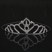 Coroas nupciais de Cristal Cor Prata Mulheres Casamento Nupcial Tiara Rhinestone Quinceanera Pageant Coroa Diadema Noiva Jóias 2017 alishoppbrasil