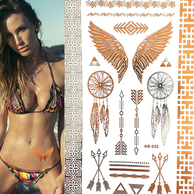 AB28 21cm*15cm Wing feathers jewelry sticker tattoo metallic golden flash tattoos tattoo large temporary tattoo prices sticker