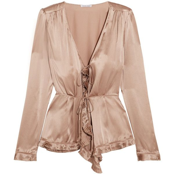 Tomas Maier Pleat-trimmed silk-charmeuse blouse ($825) ❤ liked on Polyvore featuring tops, blouses, flare top, tie top, tomas maier, silk charmeuse top and flare blouse