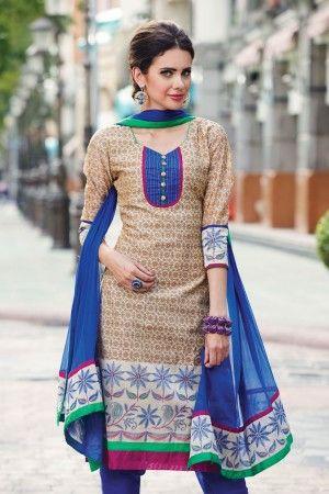 Best selling casual salwar suit Beige Silk Salwar Kameez - SKU: Z1519PVL16A-60 Rs. 825/-
