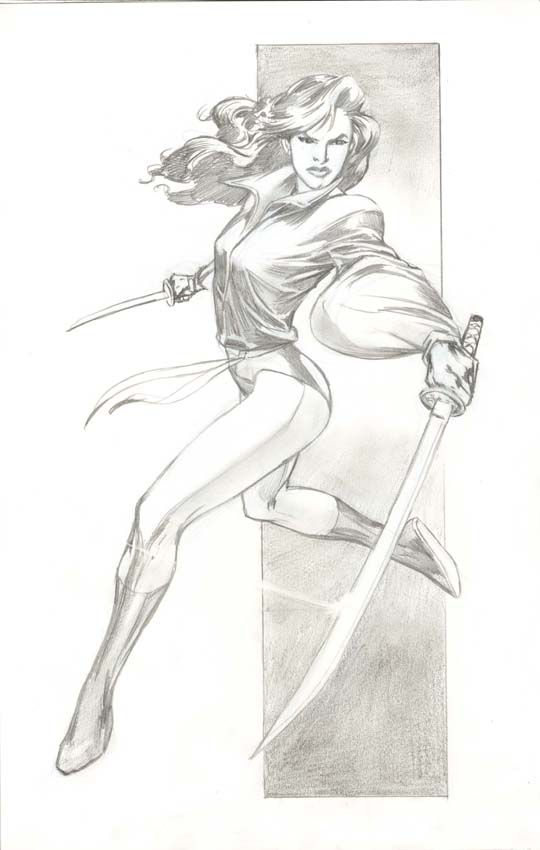 Kitty Pryde in sword-fighting stance, drawn by Alan Davis.