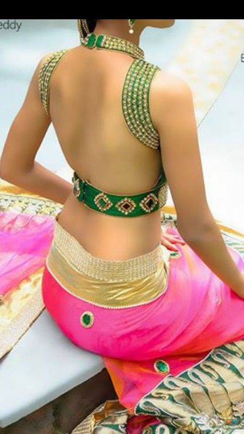 Different blouse design ------------------------------------- Wow my mom will totally approve of this - lavanya #saree #blouse #bridal