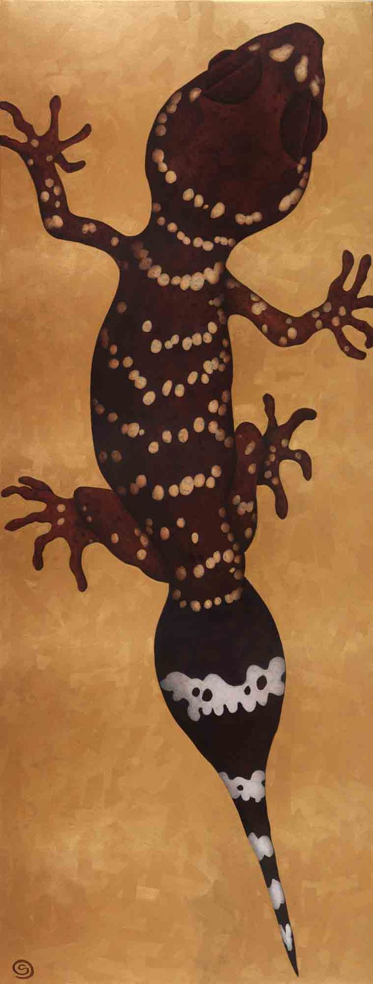 Gecko. Small Acrylic on Canvas, 180x67cm, Original $1800, Limited Edition Prints Available