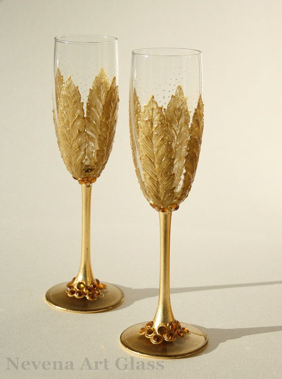 Liz!!!! I found these on etsy!  Wedding Glasses Toasting Hand Painted Champagne by NevenaArtGlass, $59.80