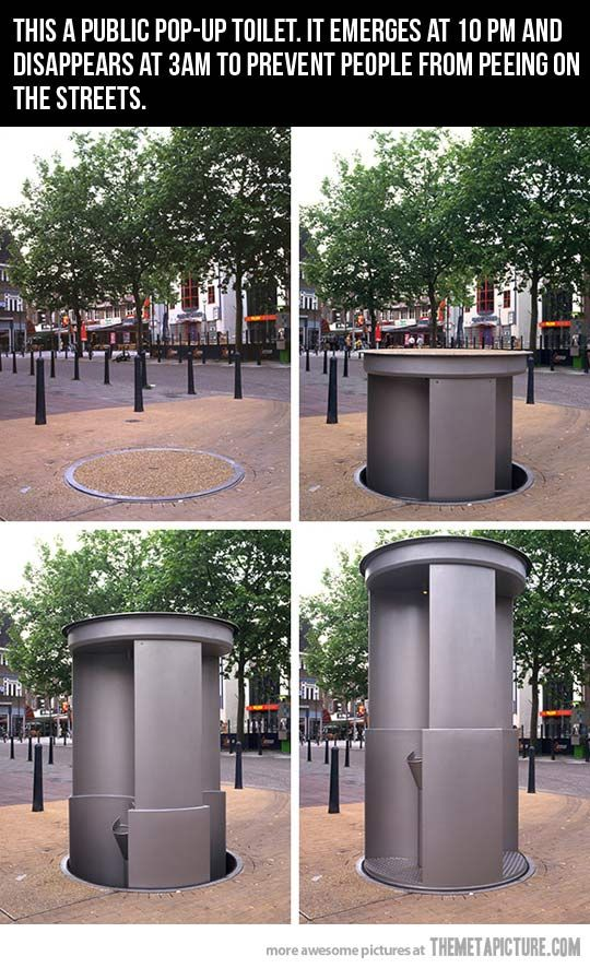 Public pop-up toilet… wonder why they don't just keep it up?
