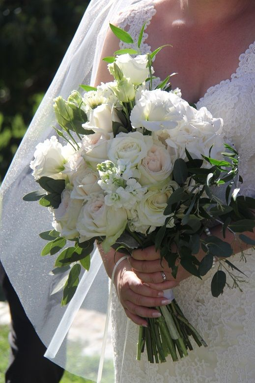 Blush roses, white lisianthus, stock and hydrangea in gorgeous wedding bouquet http://www.wanakaweddingflowers.co.nz/gallery/