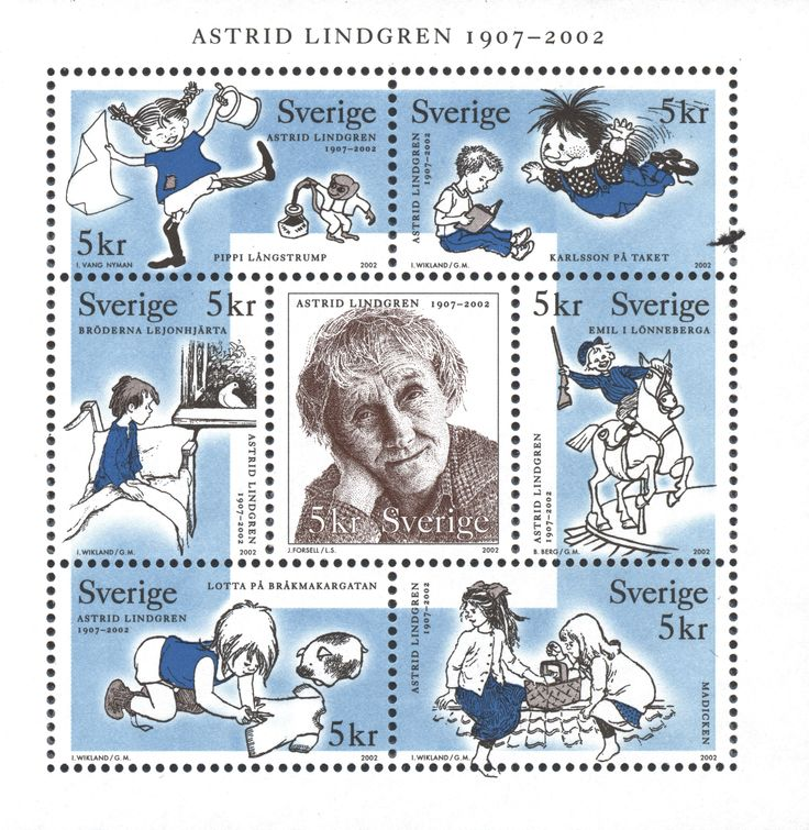 "Sweden 5kr ""Astrid Lindgren 1907–2002"" 2002."