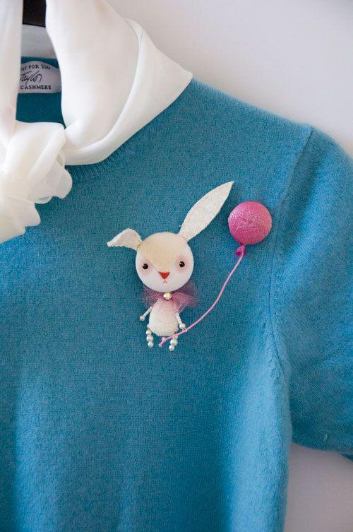 Art Brooch Easter Bunny mixed media collage. $21.00, via Etsy.